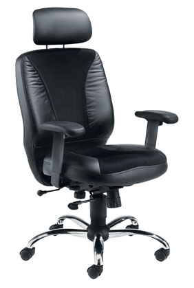 Cougar medium back black leather-look task chair with headrest and T shape arms