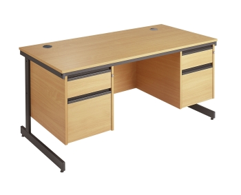 Maestro Rectangular Desk with 2 Fixed Pedestals and Cantilever Leg