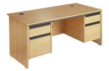 Maestro Rectangular Panel End Leg Desk with 2 Pedestals