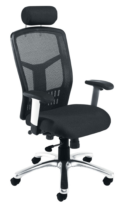 Fonz high back task chair with headrest, chrome base and T shape arms