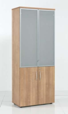 Aura High Wooden Cabinet with Glass Doors