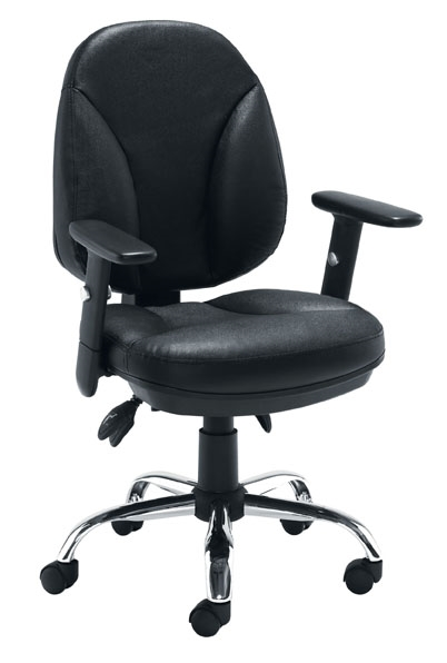 Puma medium back black leather task chair with adjustable T shape arms
