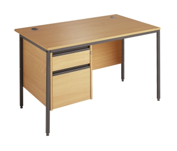 Maestro Rectangular 'H' Frame Leg Desk with Fixed Pedestal