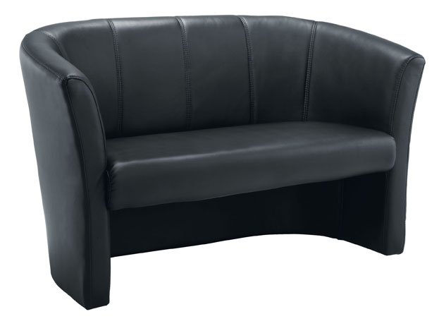 Tub Style Two Seater Sofa In Black Leather Look PU  Office Furniture
